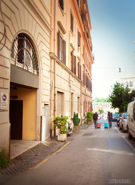 The street in front of our Colosseum apartment in Rome with GowithOh.